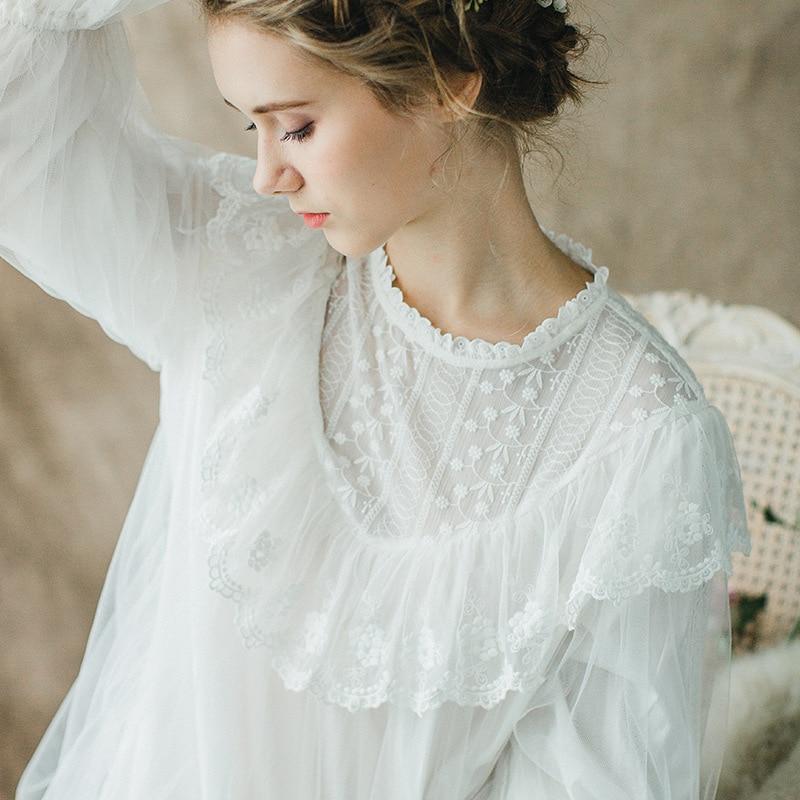 Maternity Sleepwear Pijama Retro Palace Nightgown Pregnant Women Lace Cotton Long Sleeved White Pajamas Dress for Pregnant CC591