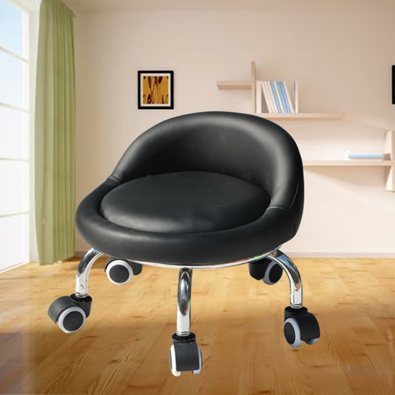 With Baby Small Stool Dormitory Pulley Small Stool Round Stool Wheeled Leather Stool Toddler Adult Beauty Sewing Low Stool