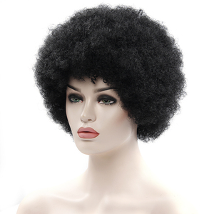 Image 4 - Afro Wig Mens Curly Hair Brown Synthetic Retro Wigs For Women Fluffy Wigs For Women Black Hair