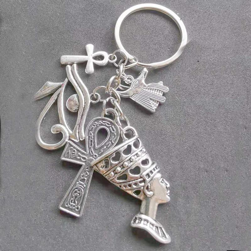 Egipt breloki srebrna królowa Nefertiti Ankh krzyż oko horusa Charms brelok do kluczyków samochodowych torebka brelok breloki na kluczyki do samochodu nowość