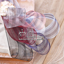 100yards 25mm 40mm double color stripes organza sheer ribbon for hair bow diy accessories wedding birthday party supplies