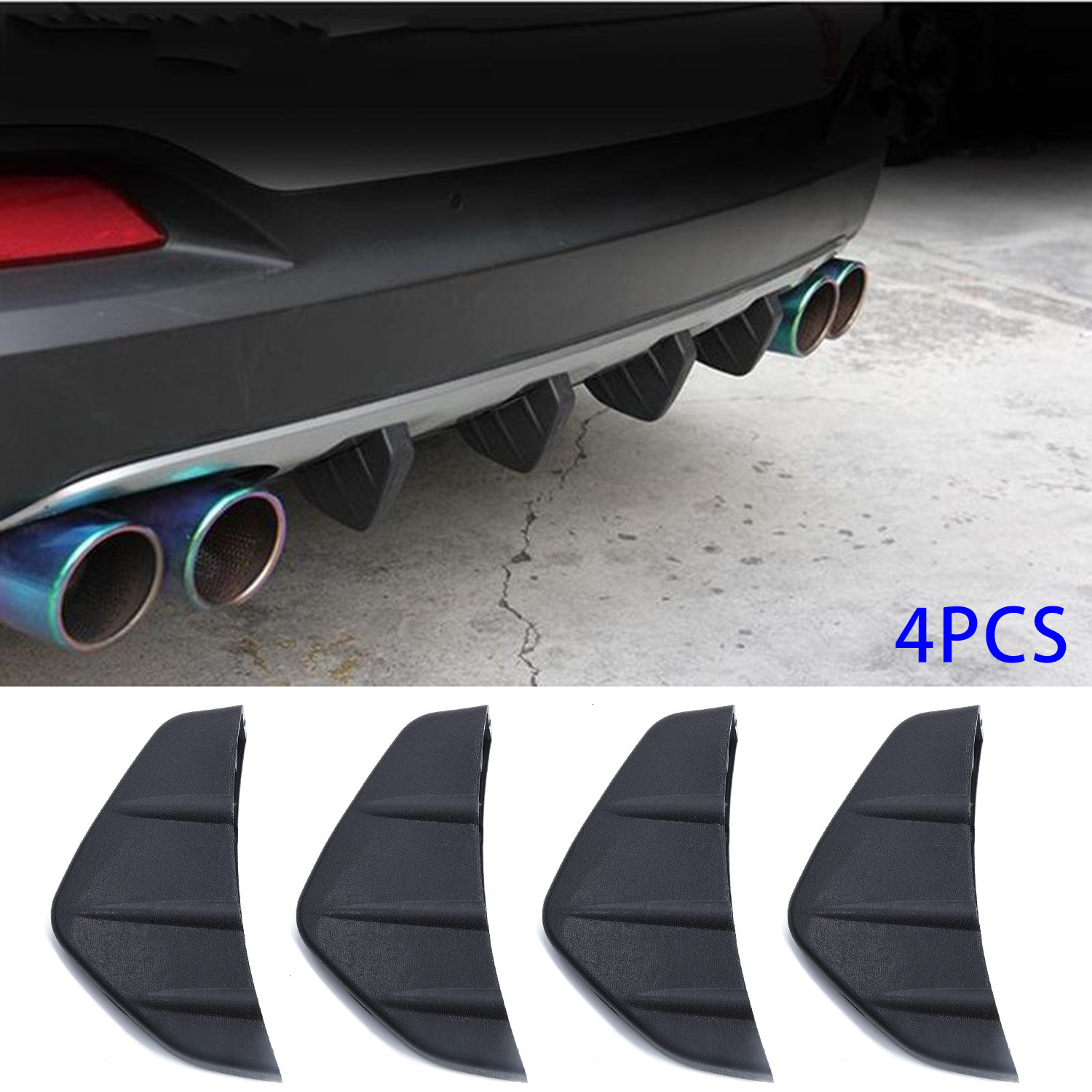 4pcs PVC Car Rear Bumper Diffuser Scratch Protector Cover Molding Trim Decals Auto Accessories Car-Styling