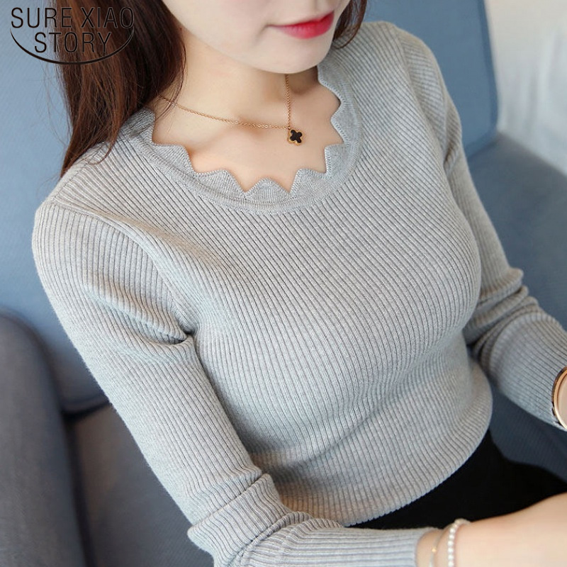 Pullover Solid Sweaters Women New Womens Knitted Slim Sweater Long Sleeve Autumn Winter Butterfly Neck Sweater Female 7167 50
