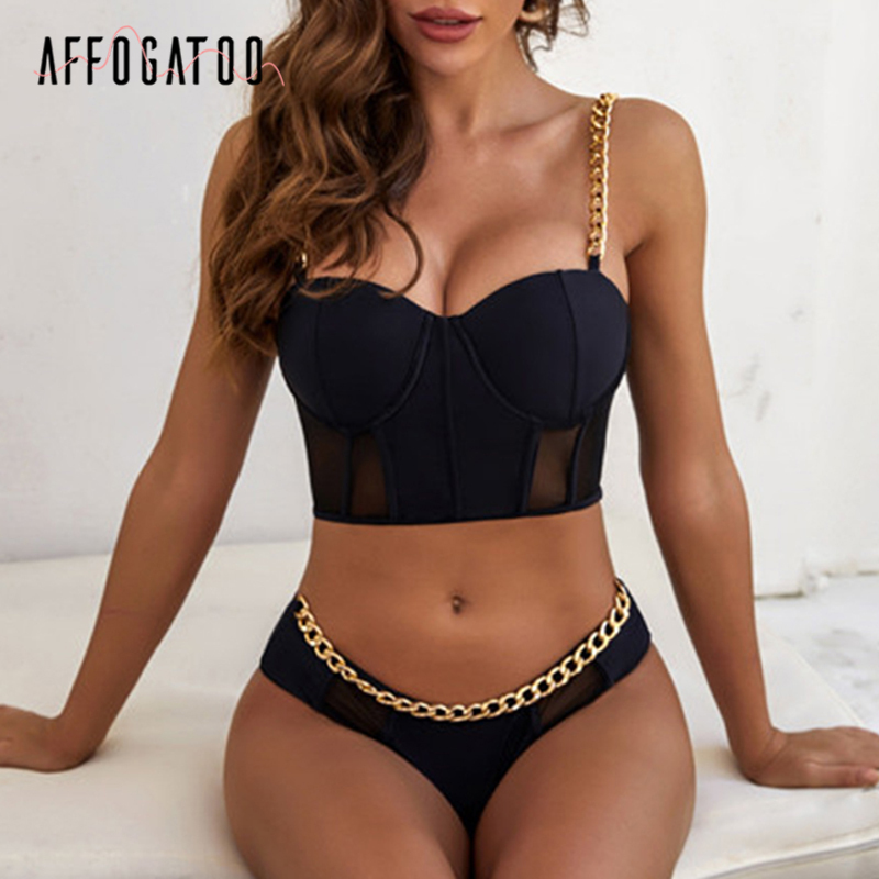 Affogatoo Sexy Chain Black Bikini Set Casual Solid Push Up Women Summer Beach Wear Holiday Chic Two Piece Swimsuit Biquini 2020