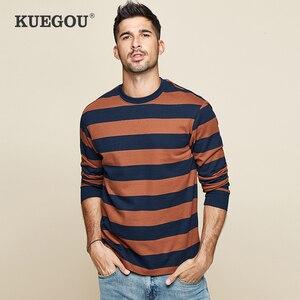 Image 2 - KUEGOU 2020 סתיו כותנה פסים כחול T חולצה גברים חולצת טי מותג חולצה ארוך שרוול חולצה אופנה בגדים חדש למעלה 1289