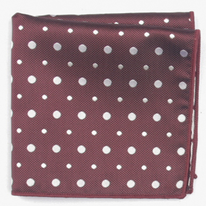 Burgundy White Dot Patterned Pocket Square With Patterns Handkerchief