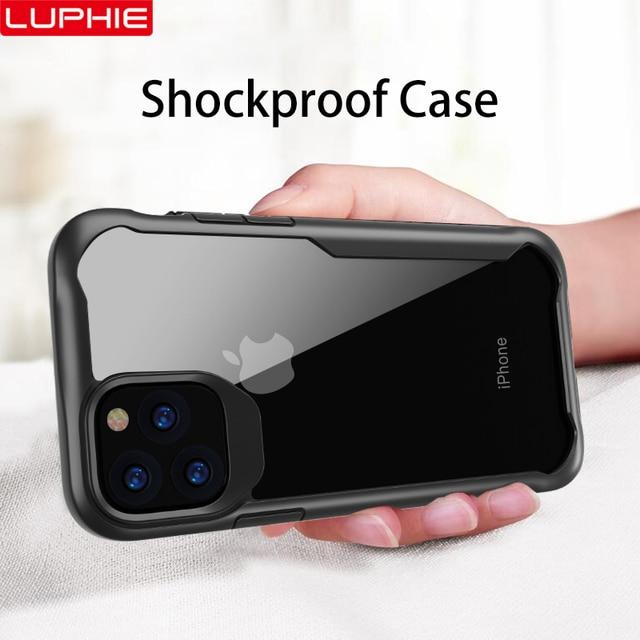 Luphie à prova de choque caso armadura para iphone 11 pro max transparente capa para iphone x xs xr max 6 7 8 plus caso de silicone luxo
