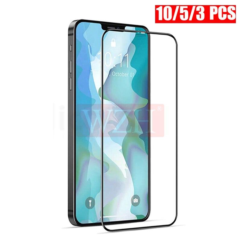 Закаленное стекло с полным покрытием для iPhone XR X XS Max, Защитное стекло для экрана iPhone 6, 6s, 7, 8 Plus, X, 5, 5S 11, 12 Pro Max Mini, 10 шт. Защитные стёкла и плёнки для телефонов      АлиЭкспресс