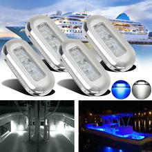 4x 3 LED 12V Boat Stair Deck Side Marker Light Courtesy Lights Indicator Turn Signal Lighting Marine Boat Accessory Taillights