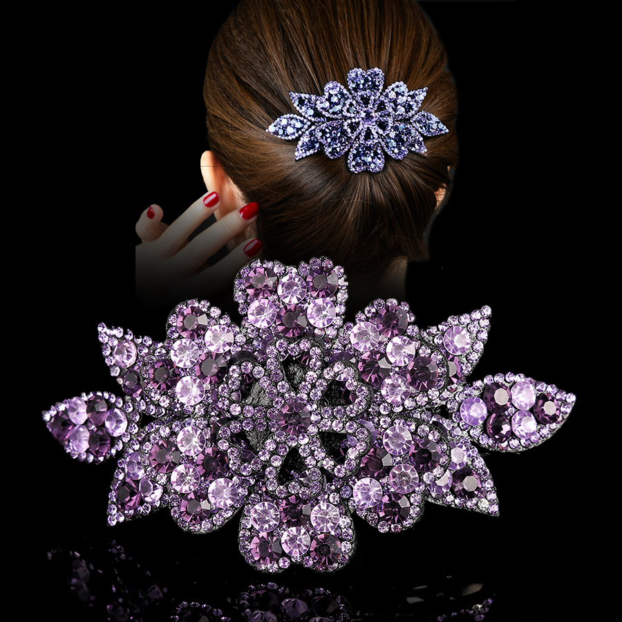 Haimekang Hairgrips Fashion Rhinestone Hair Clip Tiara Women Vintage Hairpin Barrette Headdress Crystal Hairpin Hair Accessories