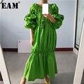 [EAM] Frauen Grün Plissee Split Joint Große Größe Midi Kleid Neue Slash Neck Puff Sleeve Lose Fit Mode frühling Herbst 2021 1S577