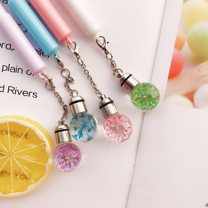 1pcs Creative Glowing Light Bulb Gel Pen Cute Flowers Pendant Pen Black Ink Ball Pen Stationery Papelaria Caneta School Supplies