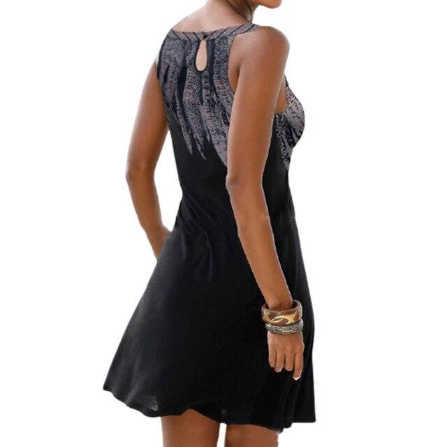 Vestido estampado calado sin mangas para mujer, ropa Sexy informal Vintage para fiesta en la playa, Vestido de cuello redondo Y2k 5