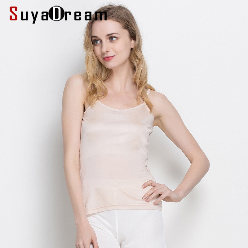 3pcs/lot Women Silk Camis Natural silk Solid Basic Comfortable Silk tank tops 2020 Spring Summer Bottoming Shirt