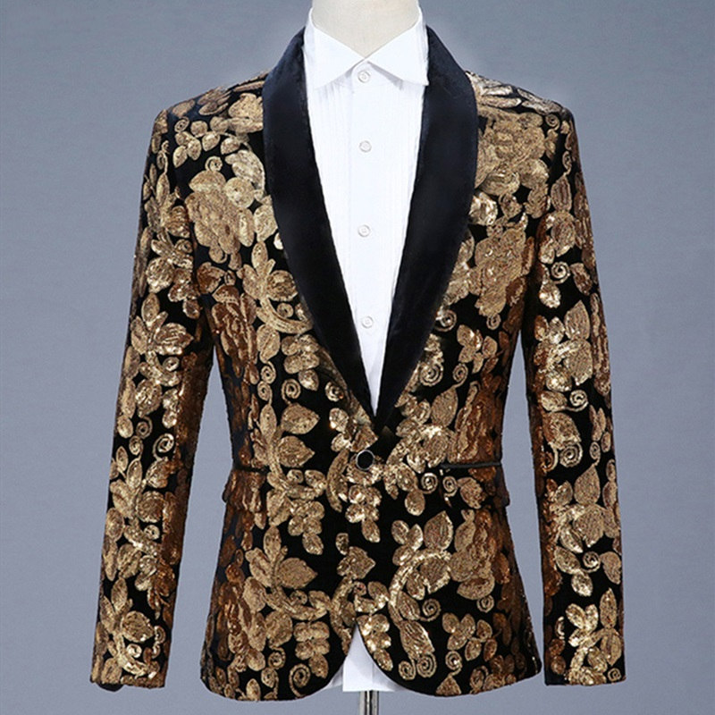 MSSNNG Men Shawl Lapel Blazer Designs Plus Size 5XL Black Velvet Gold Flowers Sequins Suit Jacket DJ Club Stage Singer Clothes