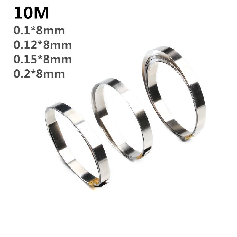Bande de Nickel pur de 10M 8mm x 0.1/0.12/0.15 bande pour le soudage par points de batterie de Li 18650 Compatible pour la Machine de soudeuse par points