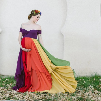 2019 Maternity Rainbow Long Dress For Photography Props Pregnancy Rainbow Photo Shoot Maxi Gown Maternity Rainbow Shoot Dress For Photography Chiffon Long Rainbow Pregnancy Photography Dress фото