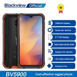 Blackview BV5900 IP68 прочный телефон Android 9,0 пирог 3 ГБ + 32 ГБ 5580 мА/ч, Водонепроницаемый мобильный телефон 5,7 дюймов NFC 4G мобильный телефон