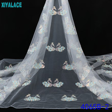 Latest Bridal Lace African Lace Fabric 2021 Sequence High Quality White Swan Pattern Lace with Sequins for Wedding Dress KS4065B