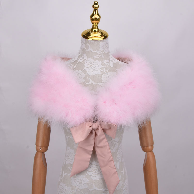 Real 100% Ostrich Feather Fur Wraps Bolero solid Wedding Party Shawl Black white Women Winter Pink Cape Protect shoulder