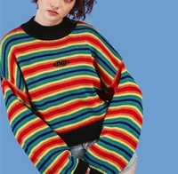 Explosion models long sleeved sweater female unif Jin Yuya with the rainbow stripes loose knitted sweater jacket