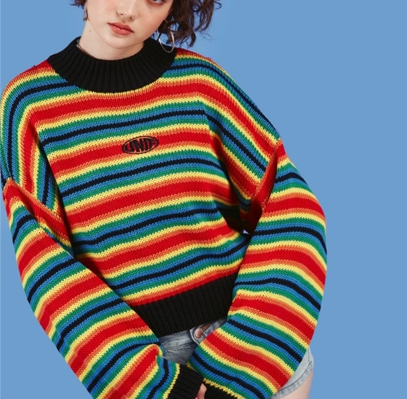 Explosion Models Long-sleeved Sweater Female Unif Jin Yuya With The Rainbow Stripes Loose Knitted Sweater Jacket