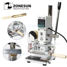 ZONESUN ماكينة ختم ساخن ثنائي الغرض دليل البرنز ماكينة نقش المزخرف لبولي كلوريد الفينيل بطاقة الجلود الخشب