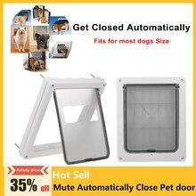 Автоматически закрывает дверцу для собак, кошек, собак, безопасная ферромагнитная стеновая заслонка для собак большинства размеров, щенков