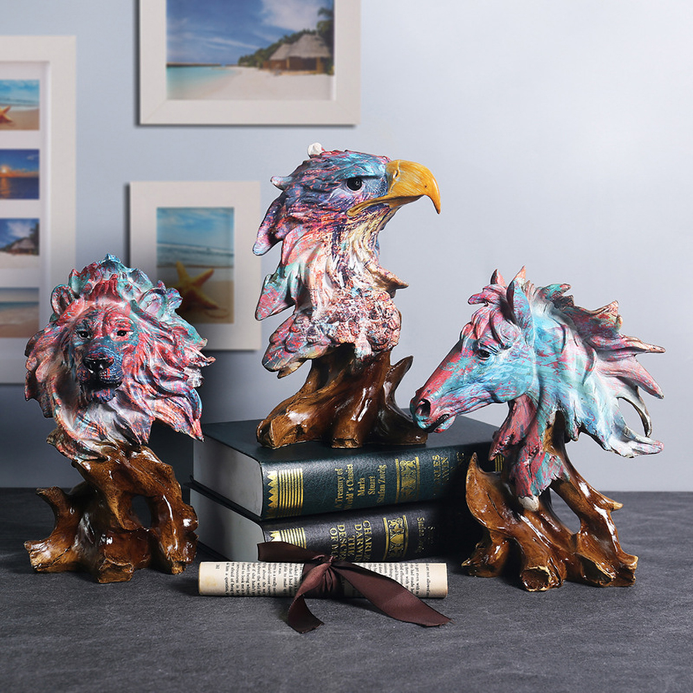 Lion Statue Eagle Sculpture Horse Wolf Figurines Home Table Decoration Accessories Just6F
