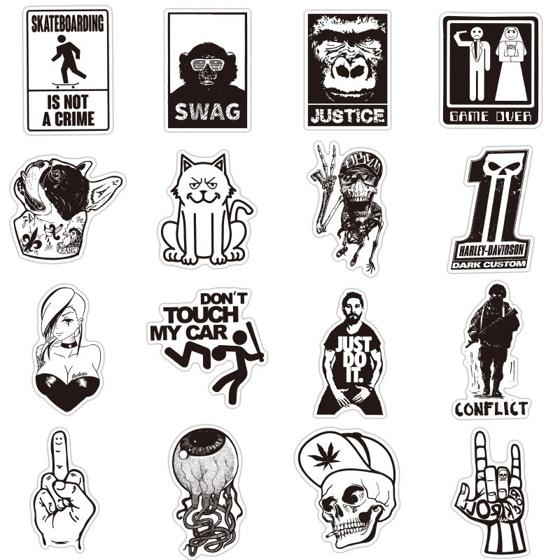 Hot Sale 100 Pcs Black and White Stickers Graffiti Sticker for Laptop Luggage Car Styling Wall Guitar Cool Stickers