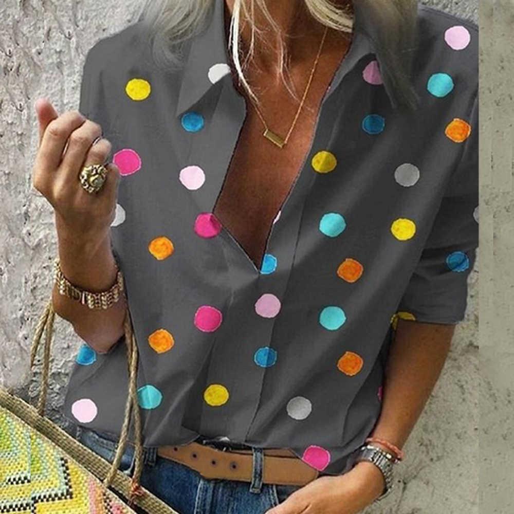 Женская винтажная блуза в горошек с отложным воротником и длинным рукавом, блузки, повседневные женские топы, Boho Button, женская рубашка поло с v-образным вырезом