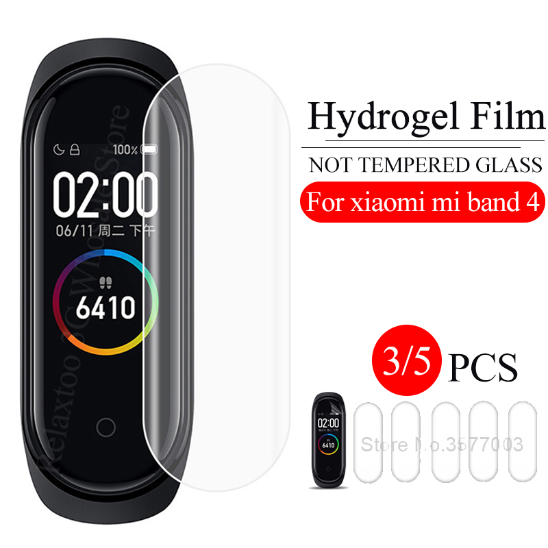 3/5pcs Mi Band 4 Screen Protector Film For Xiaomi Mi Band 4 Safety Soft TPU Film Xiomi Xaomi Miband 4 Band4 Not Tempered Glass