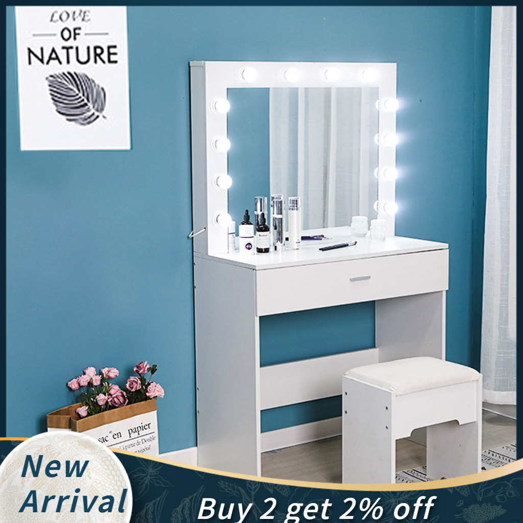 White Dresser Bedroom Furniture Vanity Set With Lights Mirror Cushioned Stool Dressing Makeup Table Tocador De Maquillaje Mueble Dressers Aliexpress