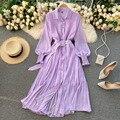Весеннее элегантное Фиолетовое Женское плиссированное платье в горошек 2021 Корейская одежда винтажное шифоновое платье-рубашка с длинным р...