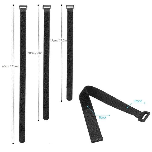 O cabo autoadesivo reusável preto do gancho e do laço de 10 pces amarra cintas arrumadas o organizador 20/30/45cm da tevê do pc comprimento 2cm largura