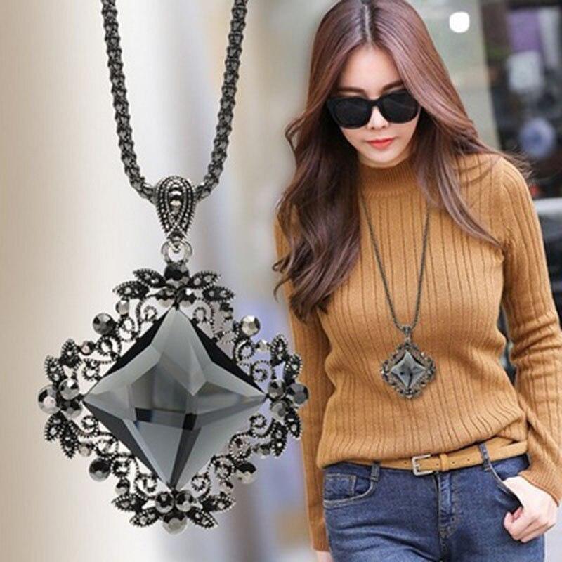 Ajojewel Vintage Dark Blue Grey Champagne Glass Flower Pendant Necklaces Female Sweater Chain