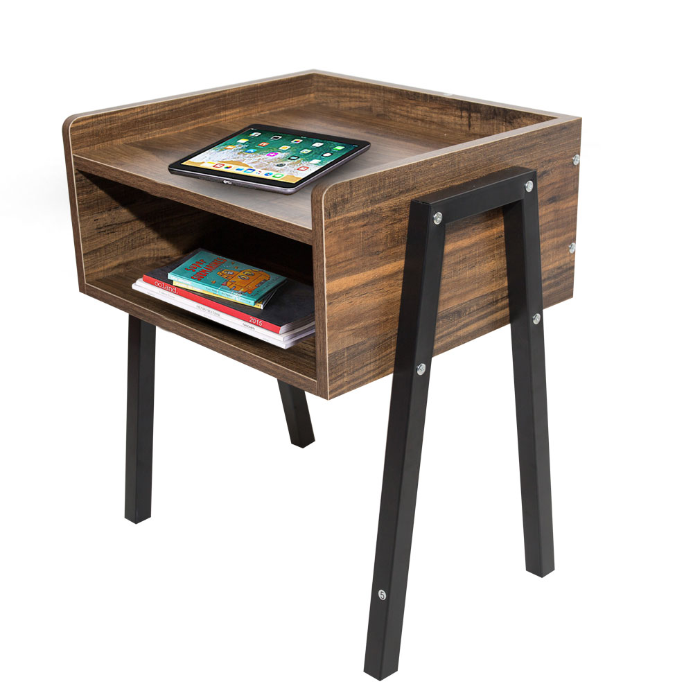 - Industrial Nightstand Cabinet For Storage Stackable End Table Side