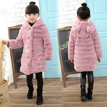 Childrens Faux Fur Coat Thickening Long Section Girls Rabbit Princess Winter Jacket