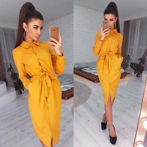 Autumn Wrap Shirt Dress Women Elegant 2020 Yellow Long Sleeve Turn-Down Collar Office Dresses For Women Vestidos