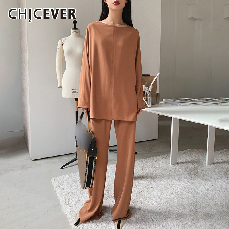 CHICEVER Korean Two Piece Set For Women O Neck Long Sleeve Loose Pullovers High Waist Full Length Pants Casual Sets Female 2020