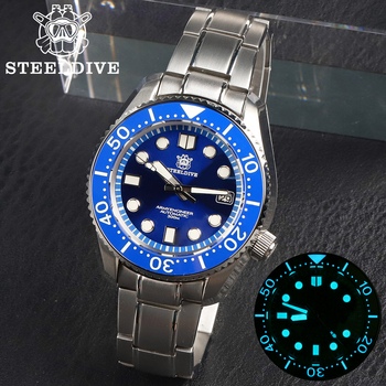 STEELDIVE 1968 Automatic Watches NH35A Sapphire  Dive 300m All In One Case 316L Mechanical Watch Men C3 Super Luminous - discount item  30% OFF Men's Watches