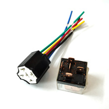 цена на Car Transparent SPDT 80A Relay 4Pins 5Pins 12 Volt coil DC 24V Ceramic Relay Wiring Harness Socket Plug