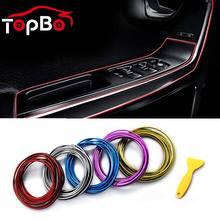 Universal 5 m decoração de moldagem guarnição tiras estilo do carro flexível interior borda da porta auto thread adesivo acessórios do carro