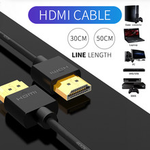 Hdmi-cabo compatível-cabeça quadrada fina de alta velocidade ethernet suporte vídeo 4k 2160p hd 1080p 3d hd completo 30cm 50cm