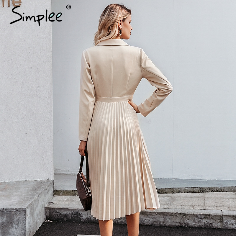 Image 4 - Simplee Elegant pleated women office dress Solid breasted ladies  blazer dress Autumn winter long sleeve chic female party dressDresses
