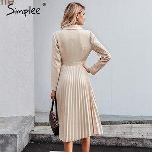 Image 4 - Simplee Kẻ Sọc Sang Trọng Lịch Lãm Nữ Đầm Công Sở Chắc Chắn Ngực Nữ Áo Đầm Thu Đông Tay Dài Sang Trọng Nữ Đầm Dự Tiệc