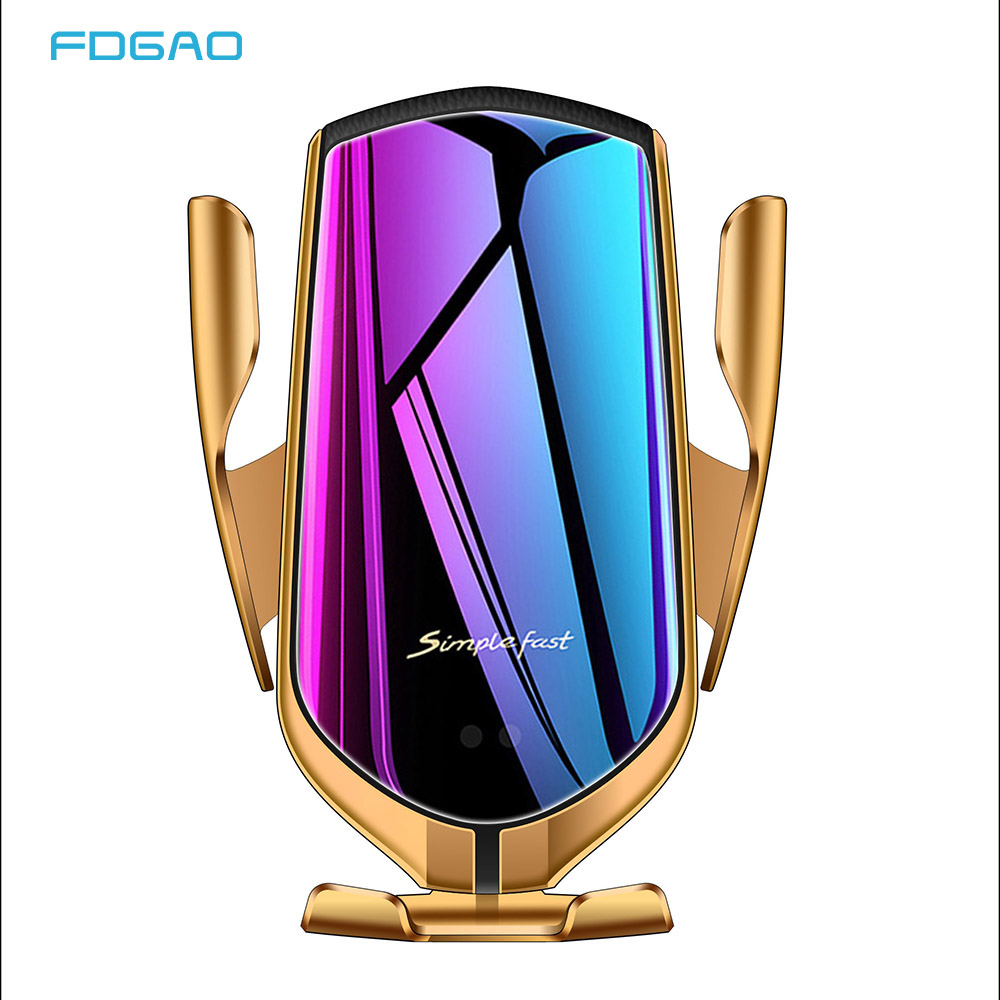 FDGAO 10W Car Qi Wireless Charger Automatic Clamping Fast Charger Air Vent Mount Car Charger Infrared Auto sens Car Phone Holder in Wireless Chargers from Cellphones Telecommunications