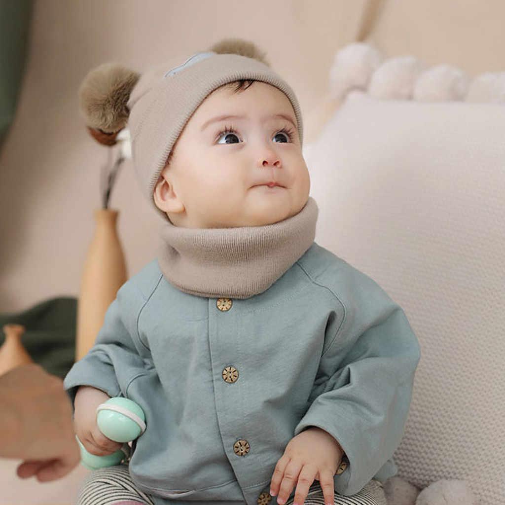 2 piezas bebé sombrero conjunto de bufanda oso gato invierno primavera otoño cálido punto bebé gorro niños sombrero niño niña gorros de ganchillo para niños y niñas