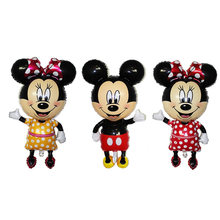 1pcs Character Inflatable Toys Mickey Minnie Cartoon Foil Birthday Party Balloon Airwalker Balloons Kids Baby Toys(China)