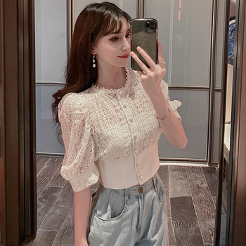 Slimming Scheming Hollow Sexy restonic shan Female Autumn Fashion New Retro Graceful Puff Sleeve Waist-Controlled Top image